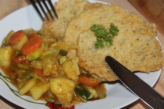 Cícerové lievance so zeleninou
