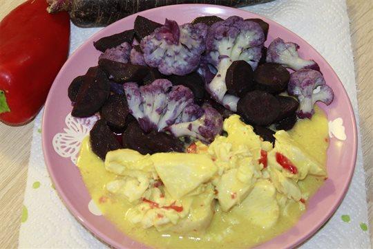 Kuracie prsia na kápii s varenou mrkvou a karfiolom